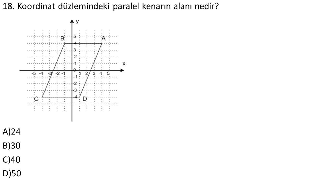 18. Koordinat düzlemindeki paralel kenarın alanı nedir A)24 B)30 C)40 D)50