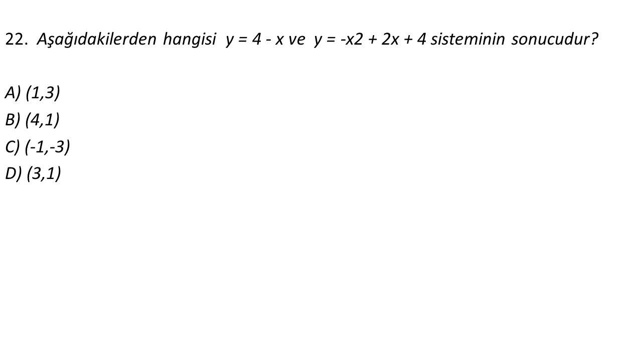 22. Aşağıdakilerden hangisi y = 4 - x ve y = -x2 + 2x + 4 sisteminin sonucudur.