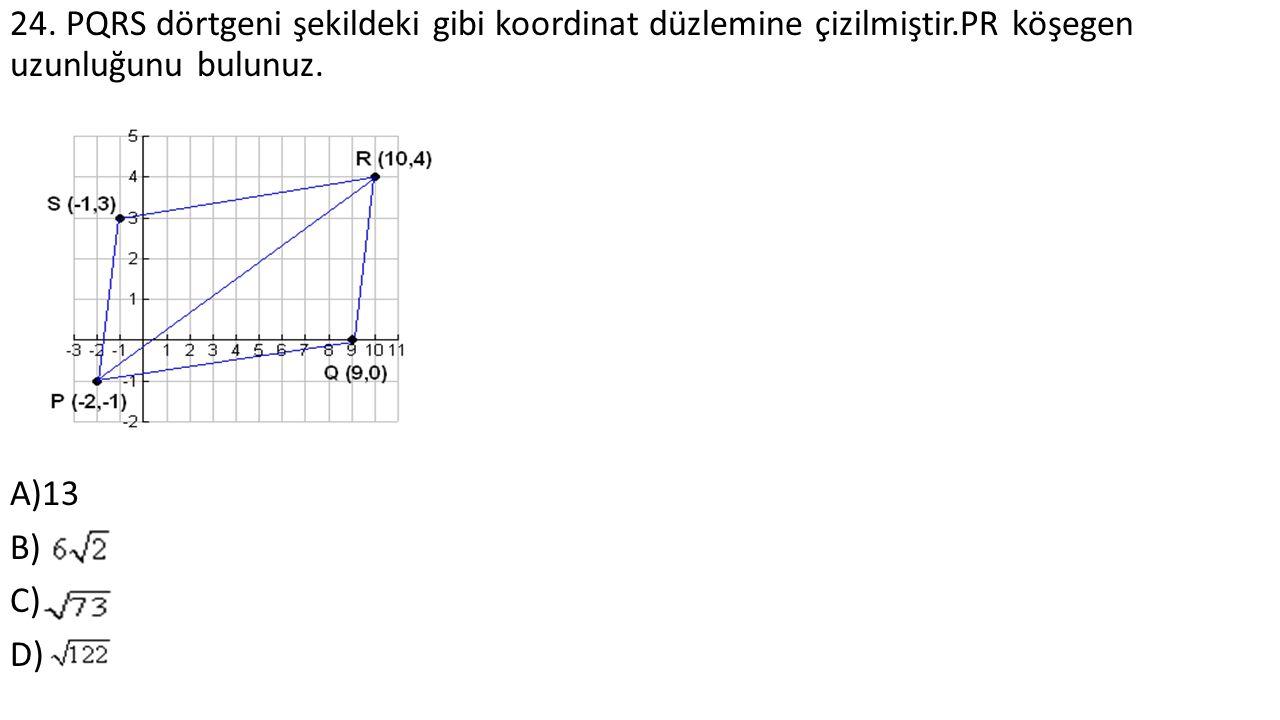 24. PQRS dörtgeni şekildeki gibi koordinat düzlemine çizilmiştir.PR köşegen uzunluğunu bulunuz.