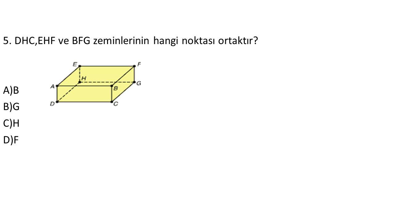 5. DHC,EHF ve BFG zeminlerinin hangi noktası ortaktır A)B B)G C)H D)F