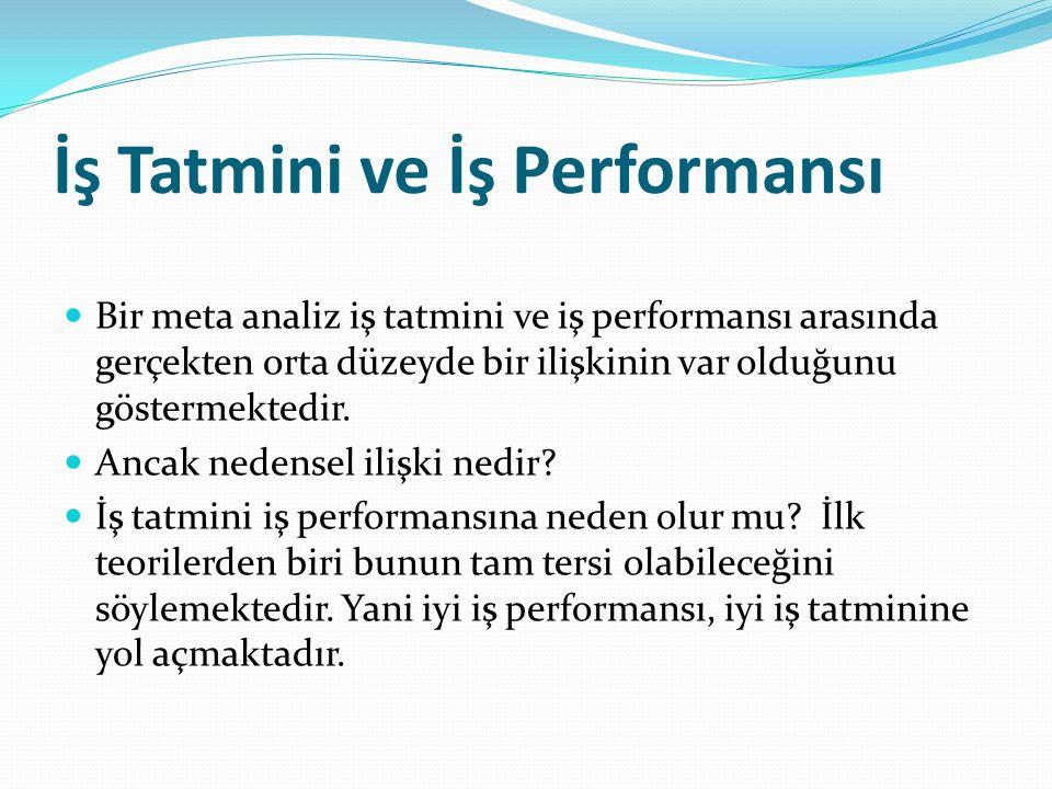İş Tatmini ve İş Performansı Bir meta analiz iş tatmini ve iş performansı arasında gerçekten orta düzeyde bir ilişkinin var olduğunu göstermektedir. A