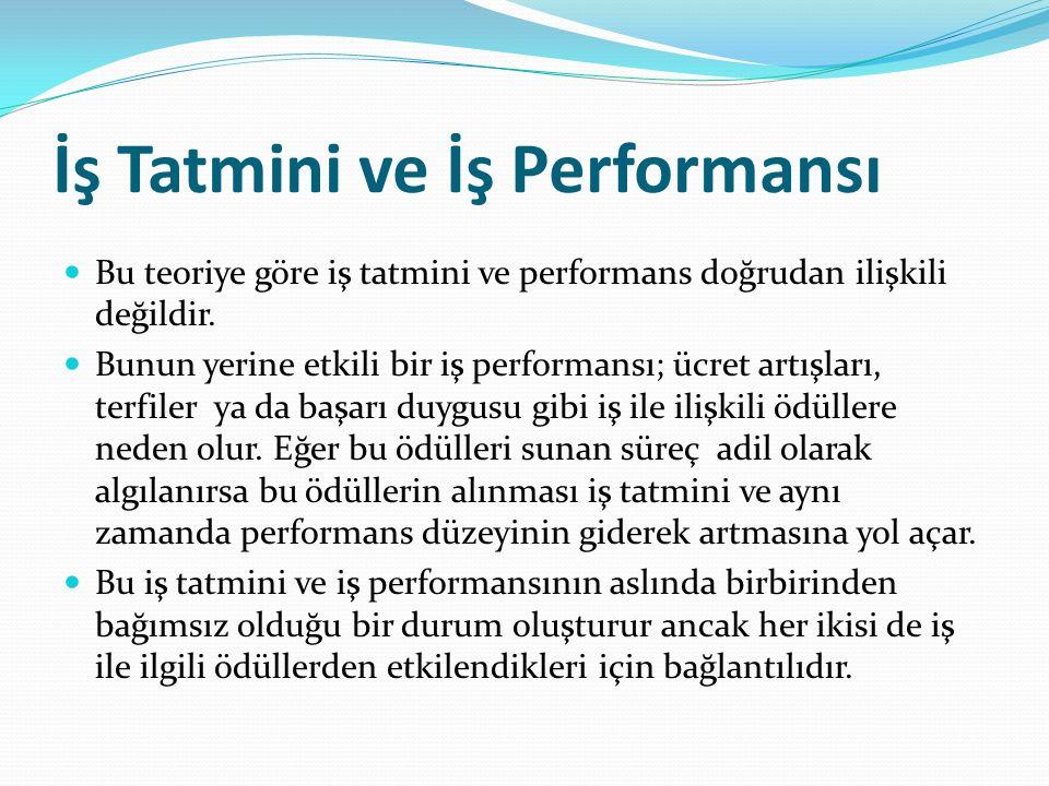 İş Tatmini ve İş Performansı Bu teoriye göre iş tatmini ve performans doğrudan ilişkili değildir. Bunun yerine etkili bir iş performansı; ücret artışl