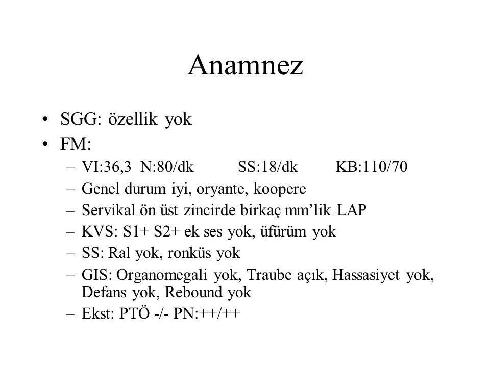 Anamnez SGG: özellik yok FM: –VI:36,3 N:80/dk SS:18/dk KB:110/70 –Genel durum iyi, oryante, koopere –Servikal ön üst zincirde birkaç mm'lik LAP –KVS: S1+ S2+ ek ses yok, üfürüm yok –SS: Ral yok, ronküs yok –GIS: Organomegali yok, Traube açık, Hassasiyet yok, Defans yok, Rebound yok –Ekst: PTÖ -/- PN:++/++