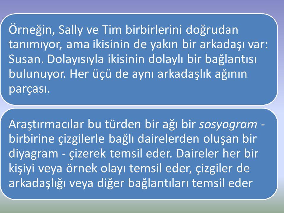 Örneğin, Sally ve Tim birbirlerini doğrudan tanımıyor, ama ikisinin de yakın bir arkadaşı var: Susan. Dolayısıyla ikisinin dolaylı bir bağlantısı bulu