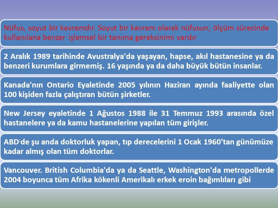Nüfus, soyut bir kavramdır. Soyut bir kavram olarak nüfusun, ölçüm sürecinde kullanılana benzer işlemsel bir tanıma gereksinimi vardır 2 Aralık 1989 t