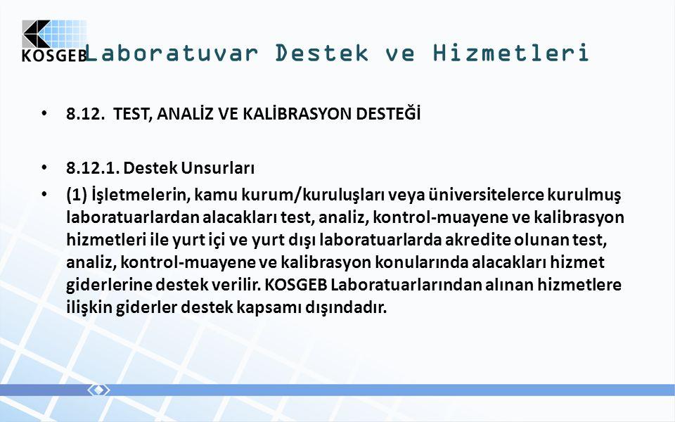 8.12. TEST, ANALİZ VE KALİBRASYON DESTEĞİ 8.12.1.