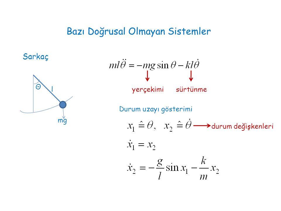 Bazı Doğrusal Olmayan Sistemler Sarkaç Θ mg l yerçekimisürtünme Durum uzayı gösterimi durum değişkenleri