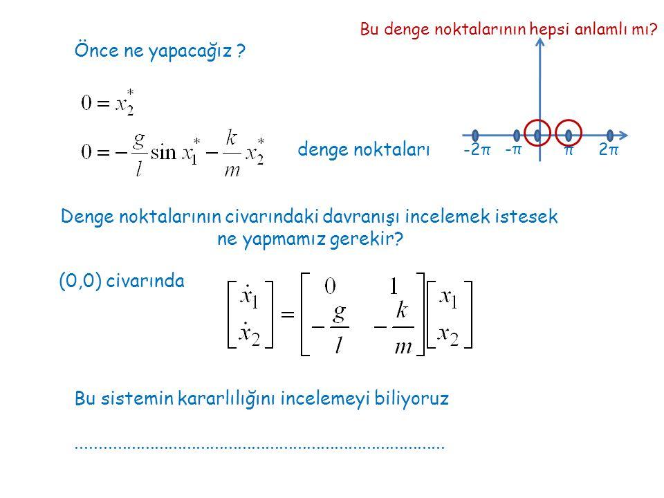 Önce ne yapacağız ? denge noktaları π -π-π 2π2π-2π Bu denge noktalarının hepsi anlamlı mı? Denge noktalarının civarındaki davranışı incelemek istesek