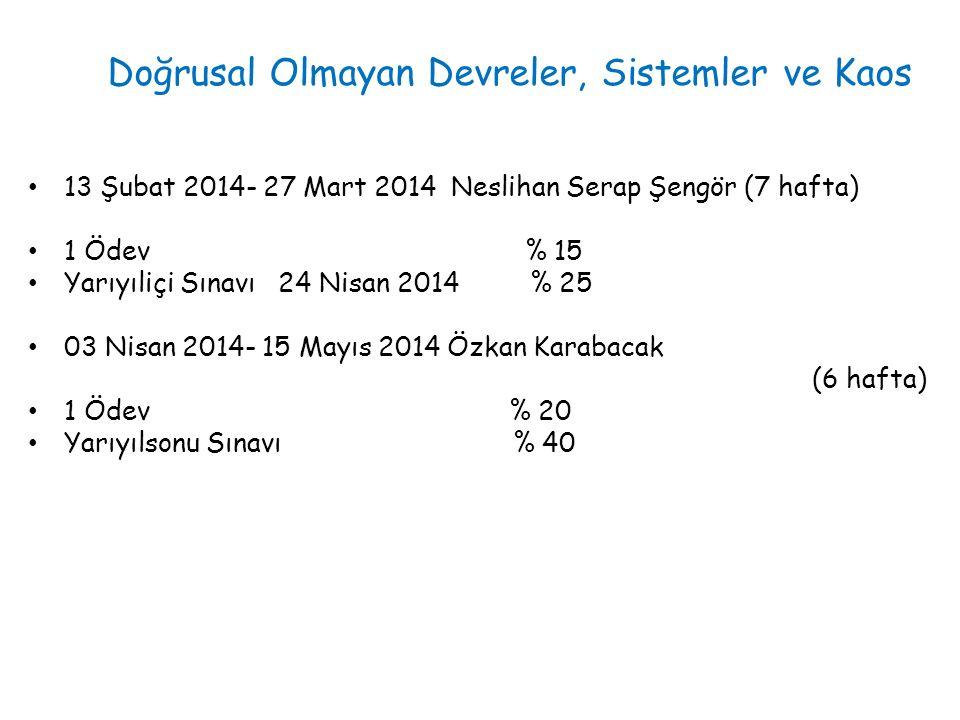 13 Şubat 2014- 27 Mart 2014 Neslihan Serap Şengör (7 hafta) 1 Ödev % 15 Yarıyıliçi Sınavı 24 Nisan 2014 % 25 03 Nisan 2014- 15 Mayıs 2014 Özkan Karaba