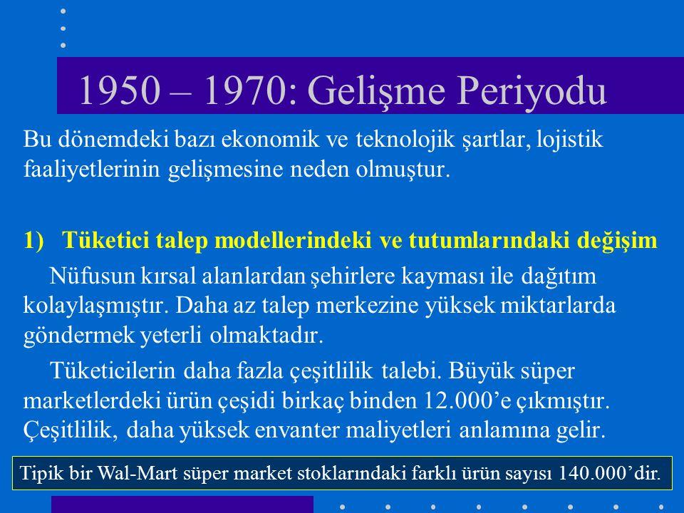 1950 – 1970: Gelişme Periyodu Bu dönemdeki bazı ekonomik ve teknolojik şartlar, lojistik faaliyetlerinin gelişmesine neden olmuştur. 1)Tüketici talep