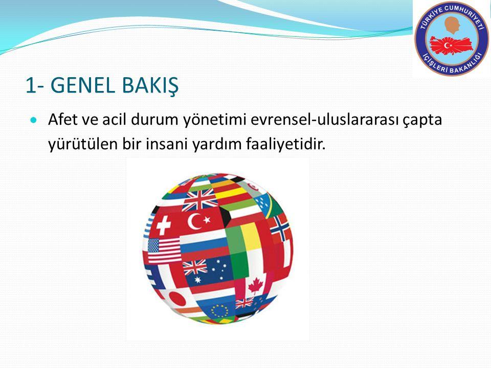 1- GENEL BAKIŞ  Afet ve acil durum yönetimi evrensel-uluslararası çapta yürütülen bir insani yardım faaliyetidir.
