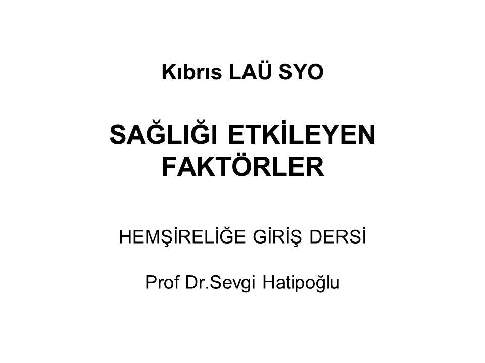 Kıbrıs LAÜ SYO SAĞLIĞI ETKİLEYEN FAKTÖRLER HEMŞİRELİĞE GİRİŞ DERSİ Prof Dr.Sevgi Hatipoğlu