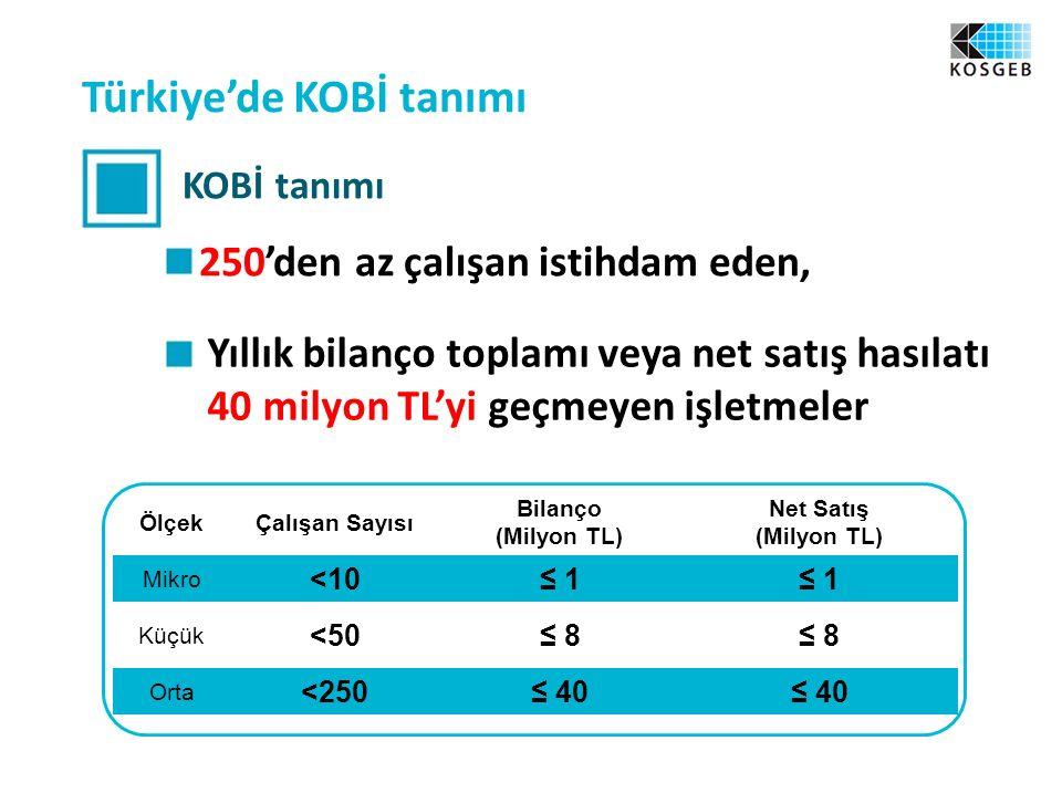 Türkiye'de KOBİ tanımı KOBİ tanımı 250'den az çalışan istihdam eden, Yıllık bilanço toplamı veya net satış hasılatı 40 milyon TL'yi geçmeyen işletmeler ÖlçekÇalışan Sayısı Bilanço (Milyon TL) Net Satış (Milyon TL) Mikro <10≤ 1 Küçük <50≤ 8 Orta <250≤ 40