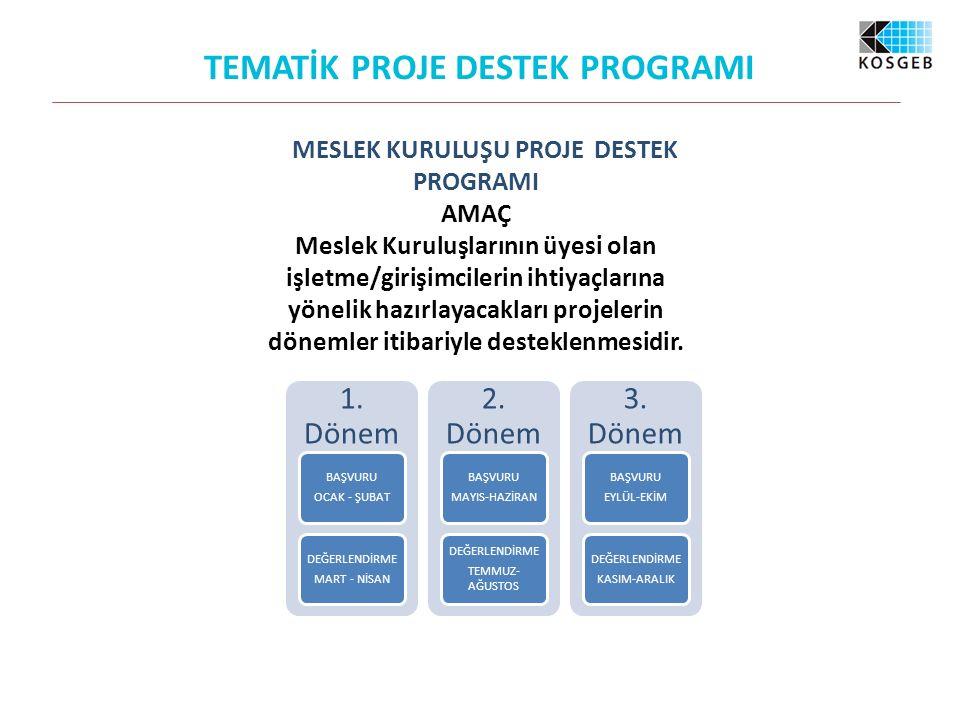 MESLEK KURULUŞU PROJE DESTEK PROGRAMI AMAÇ Meslek Kuruluşlarının üyesi olan işletme/girişimcilerin ihtiyaçlarına yönelik hazırlayacakları projelerin dönemler itibariyle desteklenmesidir.