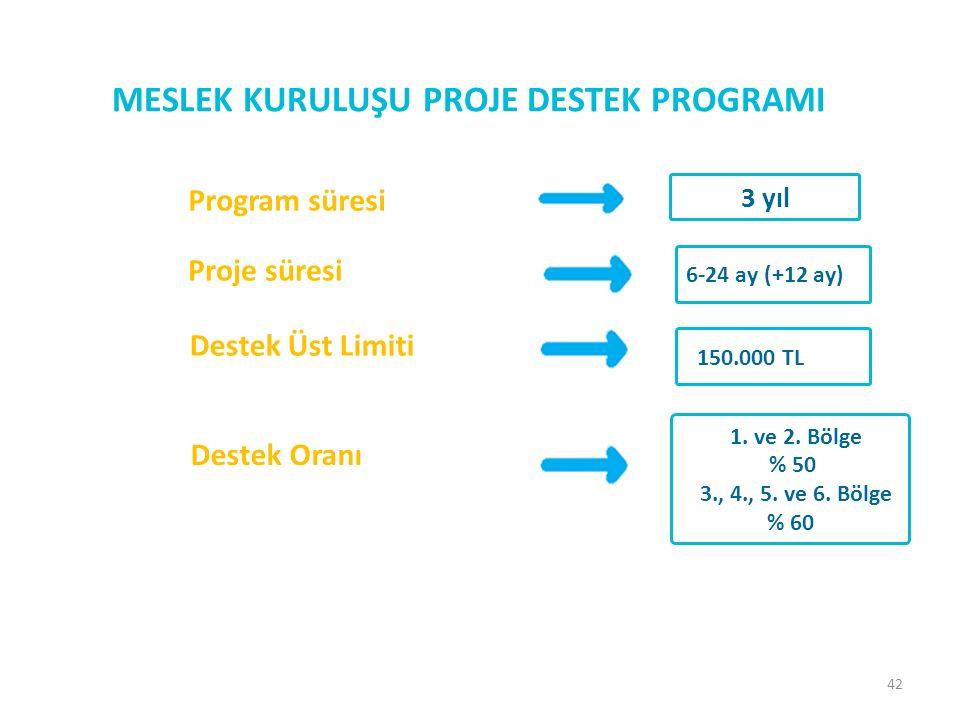 42 MESLEK KURULUŞU PROJE DESTEK PROGRAMI Proje süresi 6-24 ay (+12 ay) Program süresi 3 yıl Destek Üst Limiti 150.000 TL Destek Oranı 1.