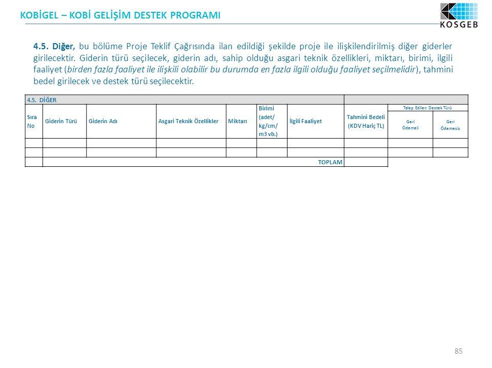 KOBİGEL – KOBİ GELİŞİM DESTEK PROGRAMI 85 4.5.