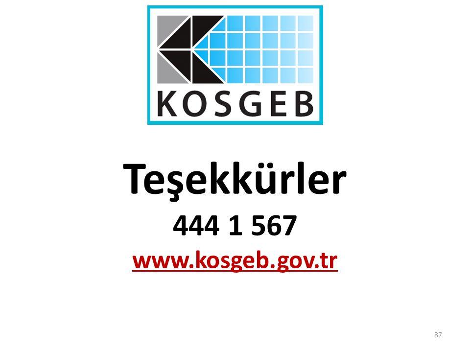 Teşekkürler 444 1 567 www.kosgeb.gov.tr 87