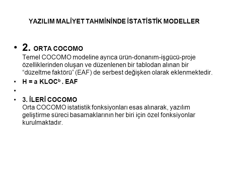 """2. ORTA COCOMO Temel COCOMO modeline ayrıca ürün-donanım-işgücü-proje özelliklerinden oluşan ve düzenlenen bir tablodan alınan bir """"düzeltme faktörü"""""""