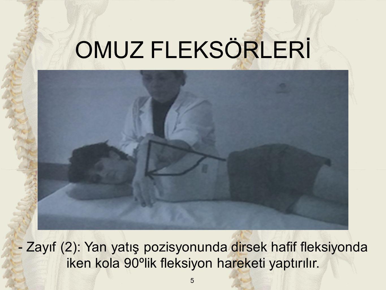 46 ÖN KOL PRONATÖRLERİ -Orta (3), İyi (4) ve Normal (5): Kol gövdeye bitişik, dirsek 90º fleksiyonda ve ön kol supinasyonda iken pronasyona götürülür.