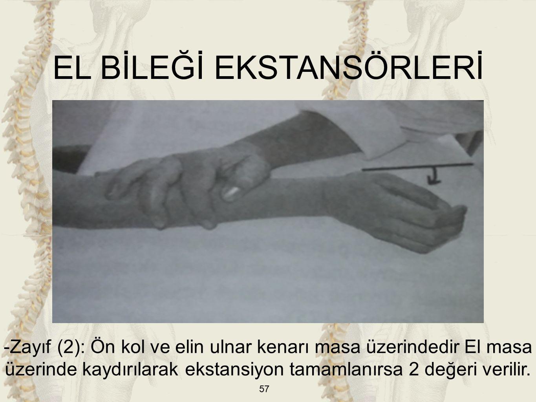 57 EL BİLEĞİ EKSTANSÖRLERİ -Zayıf (2): Ön kol ve elin ulnar kenarı masa üzerindedir El masa üzerinde kaydırılarak ekstansiyon tamamlanırsa 2 değeri verilir.