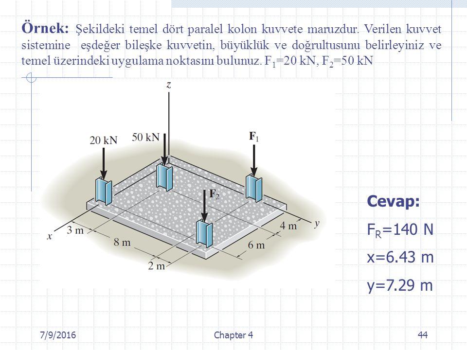7/9/2016Chapter 444 Cevap: F R =140 N x=6.43 m y=7.29 m Örnek: Şekildeki temel dört paralel kolon kuvvete maruzdur. Verilen kuvvet sistemine eşdeğer b