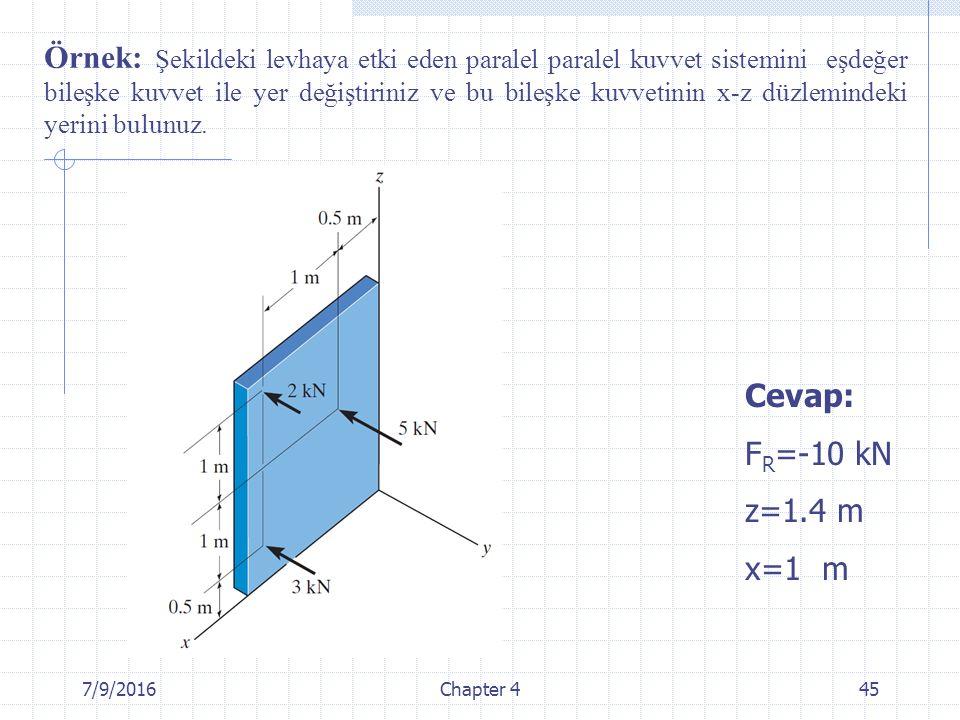7/9/2016Chapter 445 Örnek: Şekildeki levhaya etki eden paralel paralel kuvvet sistemini eşdeğer bileşke kuvvet ile yer değiştiriniz ve bu bileşke kuvv