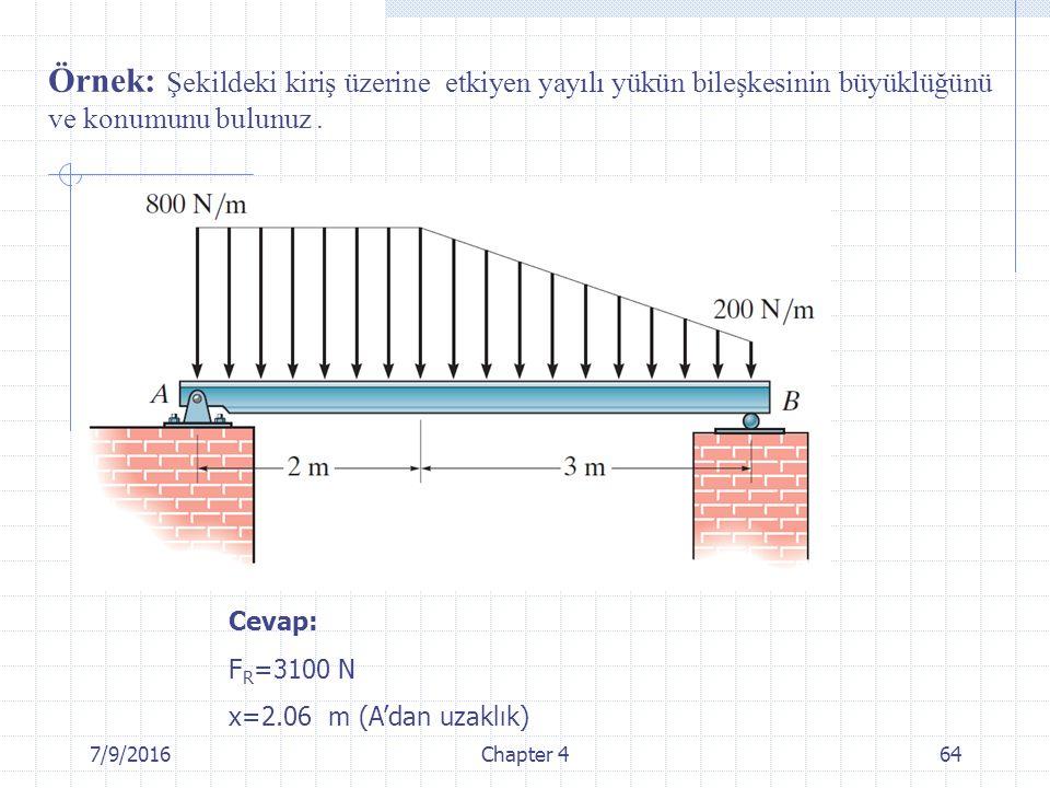 7/9/2016Chapter 464 Örnek: Şekildeki kiriş üzerine etkiyen yayılı yükün bileşkesinin büyüklüğünü ve konumunu bulunuz. Cevap: F R =3100 N x=2.06 m (A'd