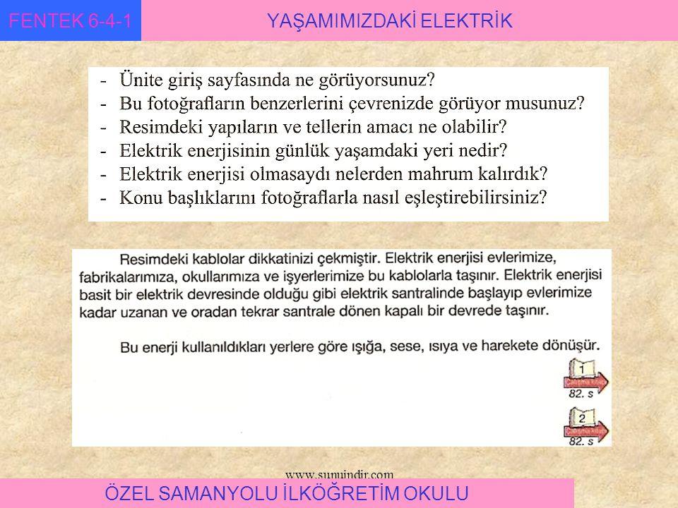 www.sunuindir.com YAŞAMIMIZDAKİ ELEKTRİKFENTEK 6-4-1 ÖZEL SAMANYOLU İLKÖĞRETİM OKULU anahtar ampül kablolar