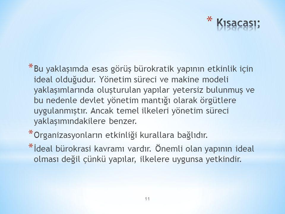 11 * Bu yaklaşımda esas görüş bürokratik yapının etkinlik için ideal olduğudur.