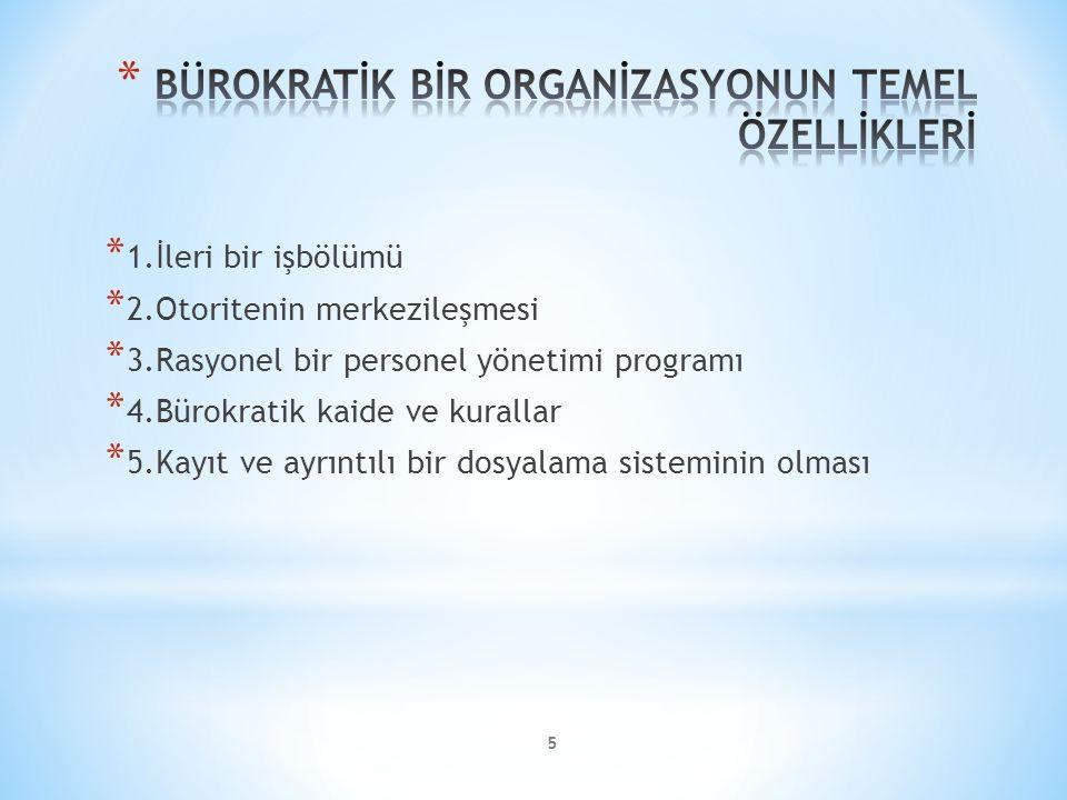 5 * 1.İleri bir işbölümü * 2.Otoritenin merkezileşmesi * 3.Rasyonel bir personel yönetimi programı * 4.Bürokratik kaide ve kurallar * 5.Kayıt ve ayrıntılı bir dosyalama sisteminin olması