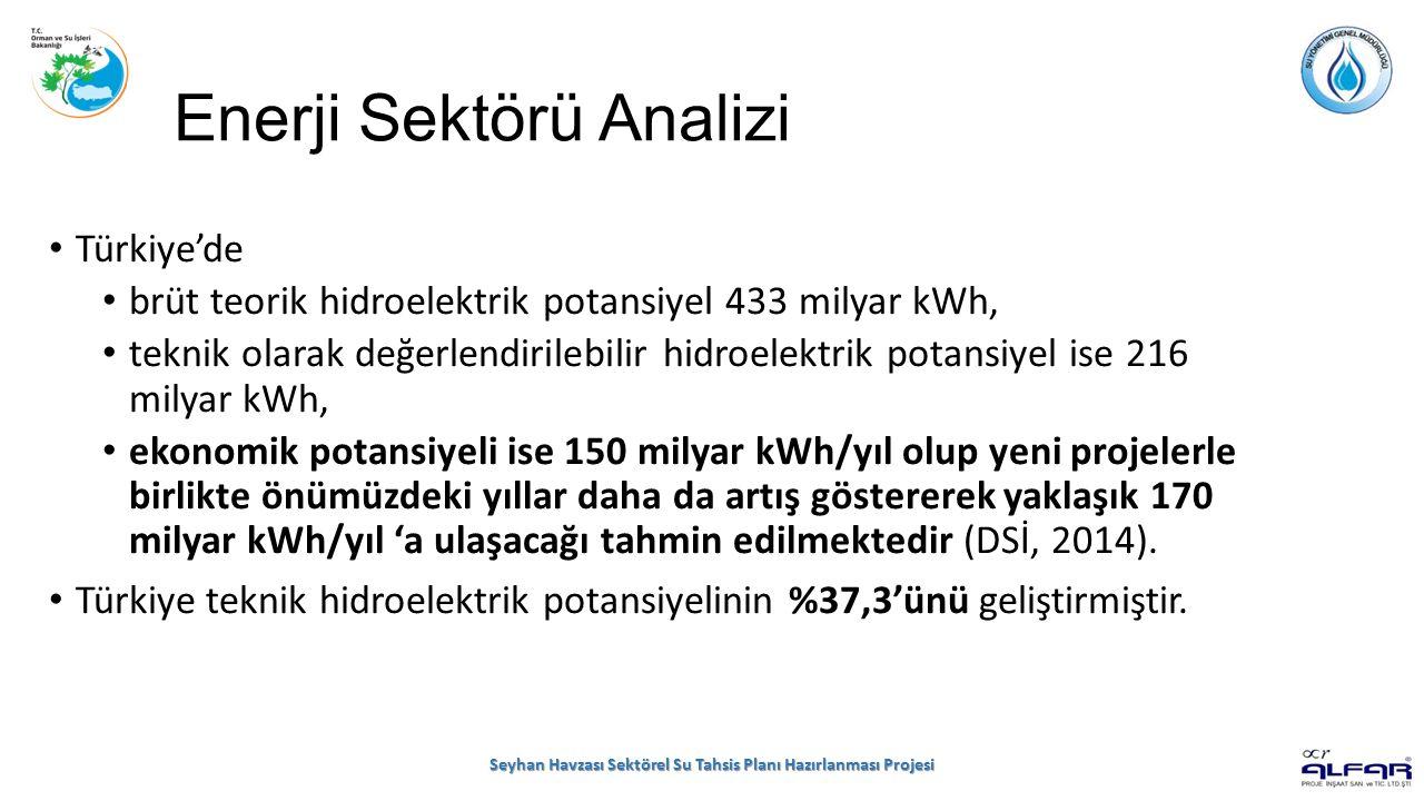 Enerji Sektörü Analizi Türkiye'de brüt teorik hidroelektrik potansiyel 433 milyar kWh, teknik olarak değerlendirilebilir hidroelektrik potansiyel ise 216 milyar kWh, ekonomik potansiyeli ise 150 milyar kWh/yıl olup yeni projelerle birlikte önümüzdeki yıllar daha da artış göstererek yaklaşık 170 milyar kWh/yıl 'a ulaşacağı tahmin edilmektedir (DSİ, 2014).