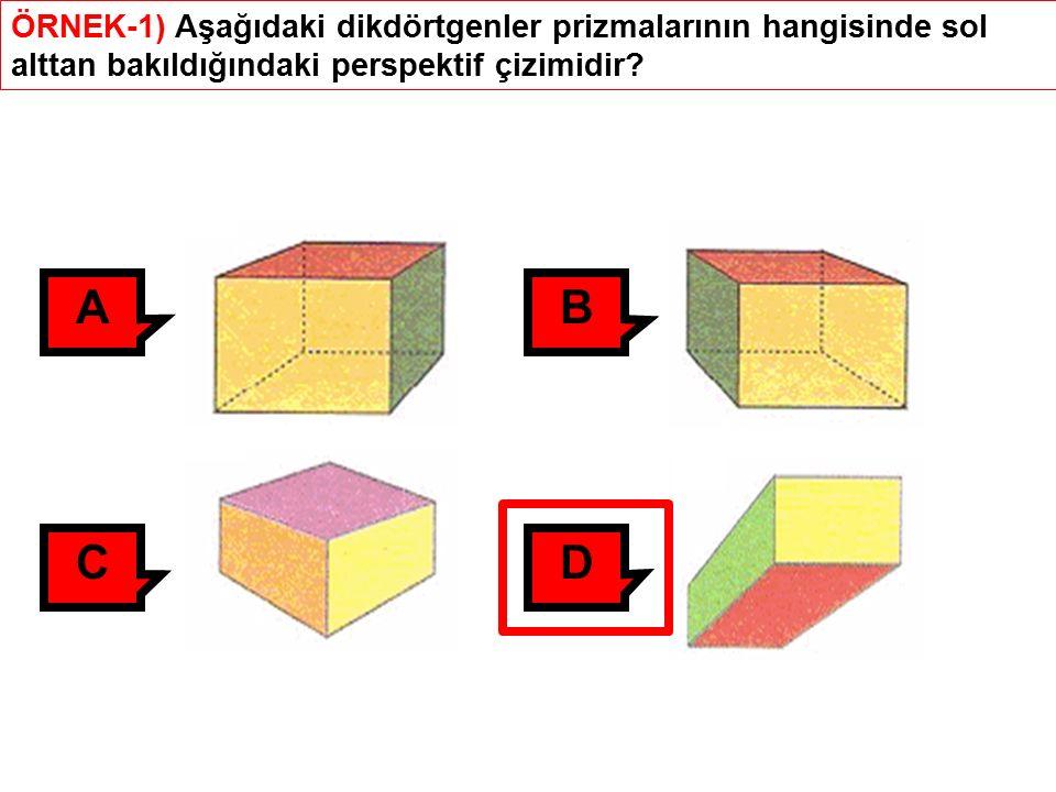ÖRNEK-1) Aşağıdaki dikdörtgenler prizmalarının hangisinde sol alttan bakıldığındaki perspektif çizimidir.