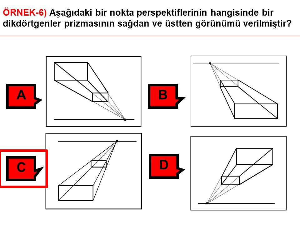 ÖRNEK-6) Aşağıdaki bir nokta perspektiflerinin hangisinde bir dikdörtgenler prizmasının sağdan ve üstten görünümü verilmiştir.