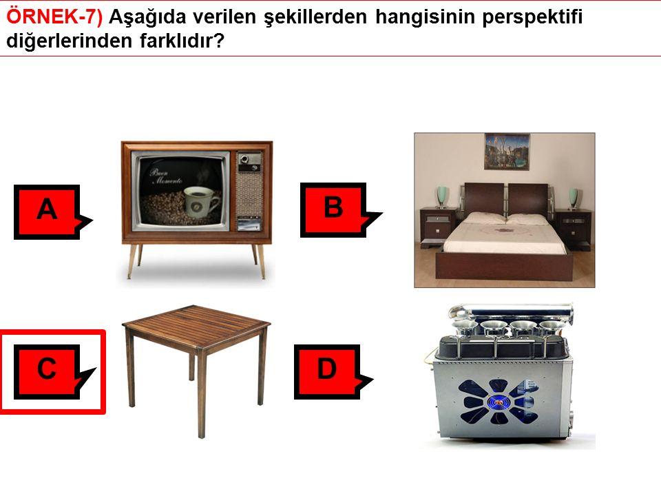 ÖRNEK-7) Aşağıda verilen şekillerden hangisinin perspektifi diğerlerinden farklıdır? A B CD