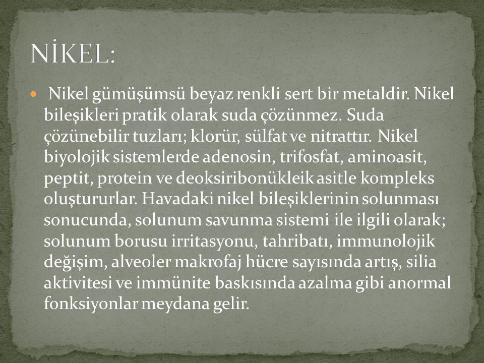 Nikel gümüşümsü beyaz renkli sert bir metaldir. Nikel bileşikleri pratik olarak suda çözünmez.