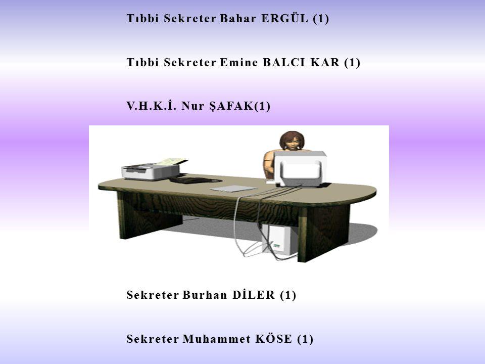 Tıbbi Sekreter Bahar ERGÜL (1)Tıbbi Sekreter Bahar ERGÜL (1) Tıbbi Sekreter Emine BALCI KAR (1)Tıbbi Sekreter Emine BALCI KAR (1) V.H.K.İ.