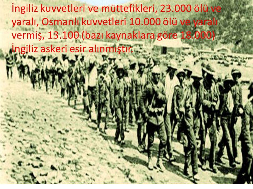 İngiliz kuvvetleri ve müttefikleri, 23.000 ölü ve yaralı, Osmanlı kuvvetleri 10.000 ölü ve yaralı vermiş, 13.100 (bazı kaynaklara göre 18.000) İngiliz askeri esir alınmıştır.