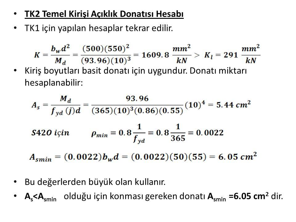 TK2 Temel Kirişi Açıklık Donatısı Hesabı TK1 için yapılan hesaplar tekrar edilir.