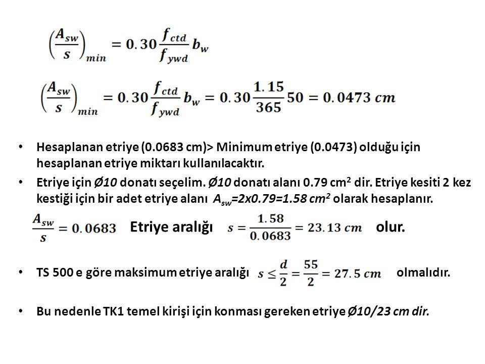 Hesaplanan etriye (0.0683 cm)> Minimum etriye (0.0473) olduğu için hesaplanan etriye miktarı kullanılacaktır.