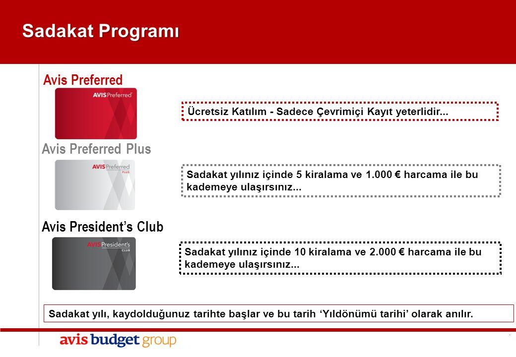 1 1 GENEL Sadakat Programı Avis Preferred Avis Preferred Plus Avis President's Club Sadakat yılınız içinde 5 kiralama ve 1.000 € harcama ile bu kademeye ulaşırsınız...