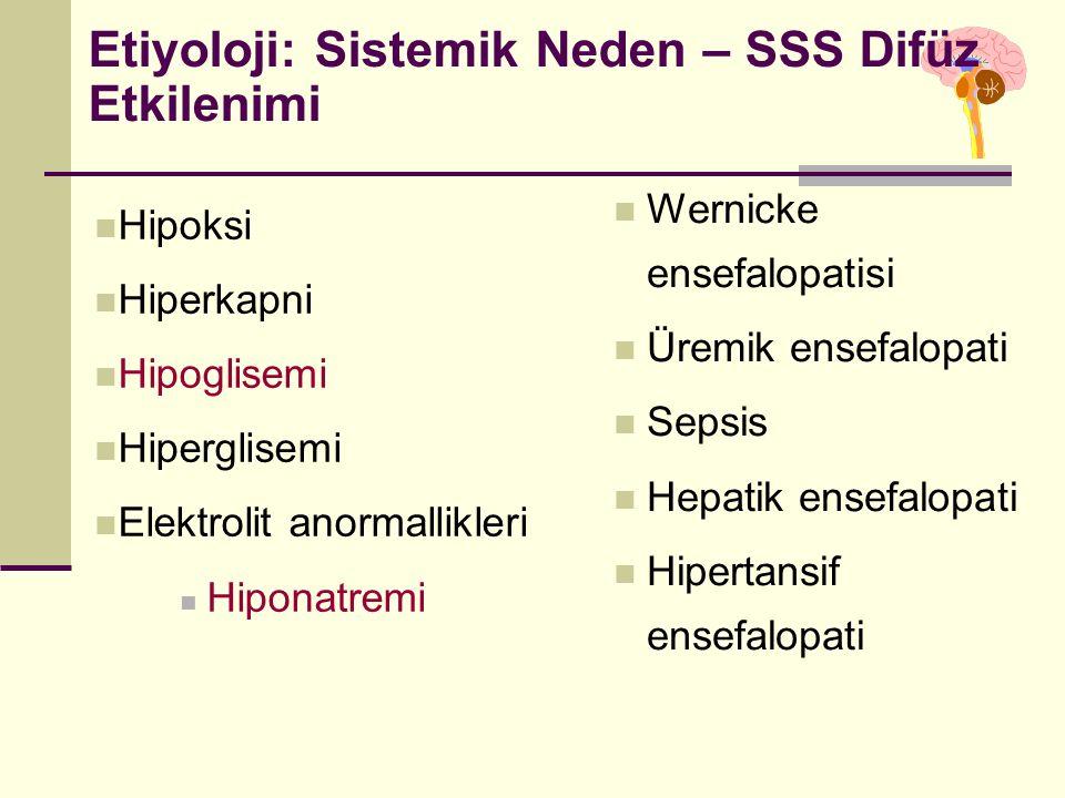 Etiyoloji: Sistemik Neden – SSS Difüz Etkilenimi Hipoksi Hiperkapni Hipoglisemi Hiperglisemi Elektrolit anormallikleri Hiponatremi Wernicke ensefalopatisi Üremik ensefalopati Sepsis Hepatik ensefalopati Hipertansif ensefalopati