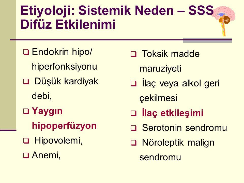 Etiyoloji: Sistemik Neden – SSS Difüz Etkilenimi  Endokrin hipo/ hiperfonksiyonu  Düşük kardiyak debi,  Yaygın hipoperfüzyon  Hipovolemi,  Anemi,  Toksik madde maruziyeti  İlaç veya alkol geri çekilmesi  İlaç etkileşimi  Serotonin sendromu  Nöroleptik malign sendromu