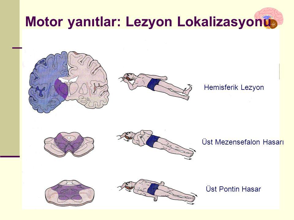 İstanbul, Kasım 2011 Motor yanıtlar: Lezyon Lokalizasyonu Hemisferik Lezyon Üst Mezensefalon Hasarı Üst Pontin Hasar