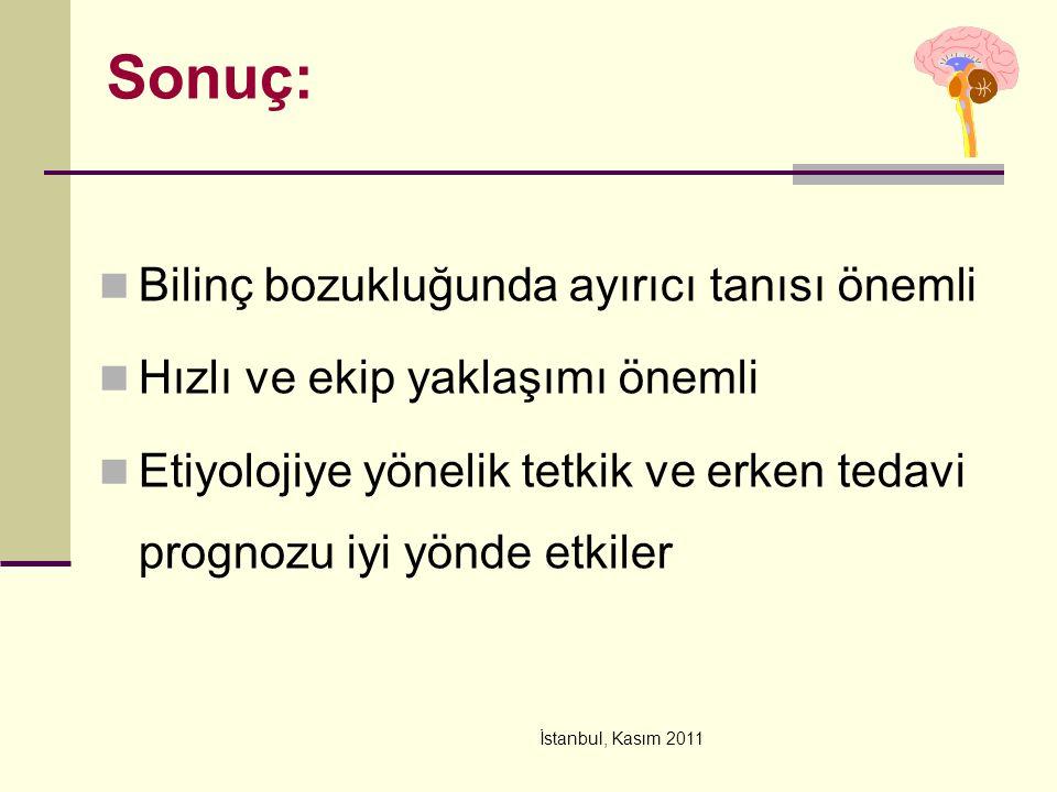 İstanbul, Kasım 2011 Sonuç: Bilinç bozukluğunda ayırıcı tanısı önemli Hızlı ve ekip yaklaşımı önemli Etiyolojiye yönelik tetkik ve erken tedavi prognozu iyi yönde etkiler