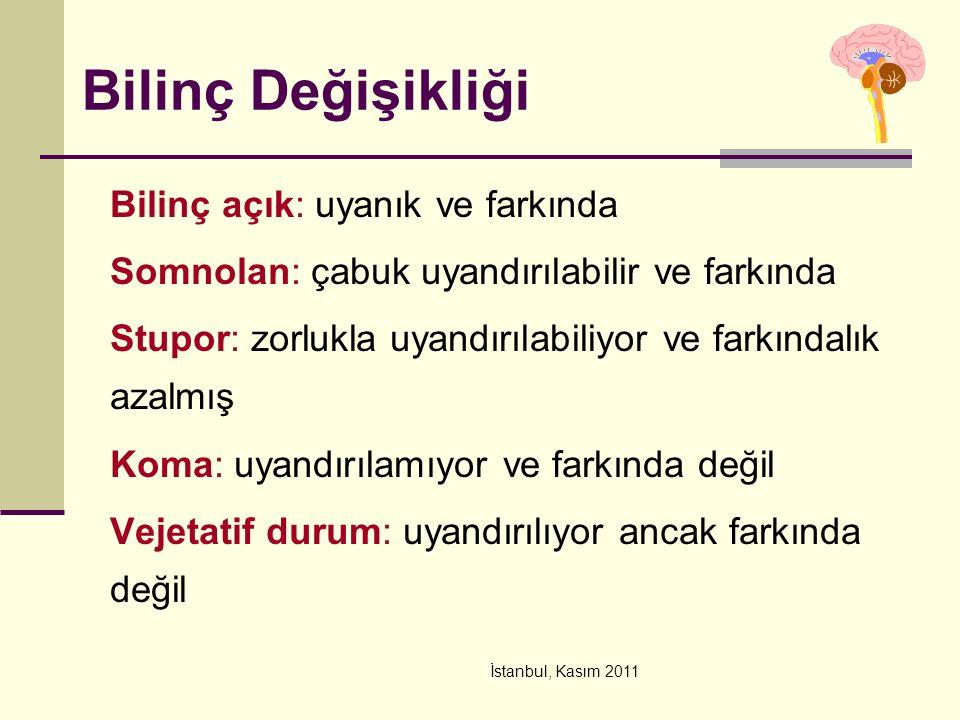 İstanbul, Kasım 2011 Bilinç Değişikliği Bilinç açık: uyanık ve farkında Somnolan: çabuk uyandırılabilir ve farkında Stupor: zorlukla uyandırılabiliyor ve farkındalık azalmış Koma: uyandırılamıyor ve farkında değil Vejetatif durum: uyandırılıyor ancak farkında değil