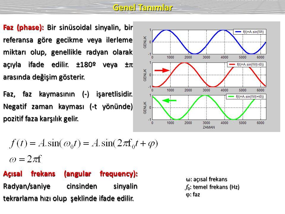 Genel Tanımlar ω: açısal frekans f 0 : temel frekans (Hz)  : faz Faz (phase): Bir sinüsoidal sinyalin, bir referansa göre gecikme veya ilerleme miktarı olup, genellikle radyan olarak açıyla ifade edilir.