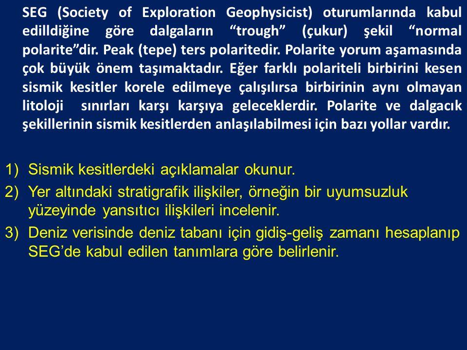 SEG (Society of Exploration Geophysicist) oturumlarında kabul edilldiğine göre dalgaların trough (çukur) şekil normal polarite dir.