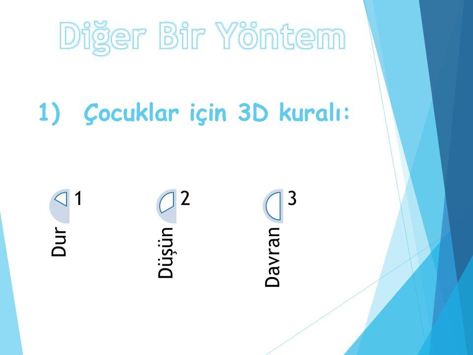 1) Çocuklar için 3D kuralı: Dur 1 Düşün 2 Davran 3