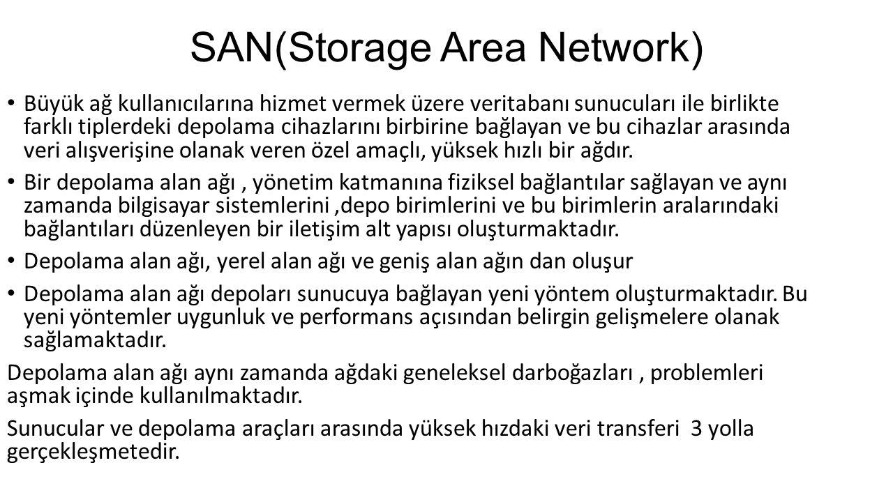 SAN(Storage Area Network) Büyük ağ kullanıcılarına hizmet vermek üzere veritabanı sunucuları ile birlikte farklı tiplerdeki depolama cihazlarını birbi