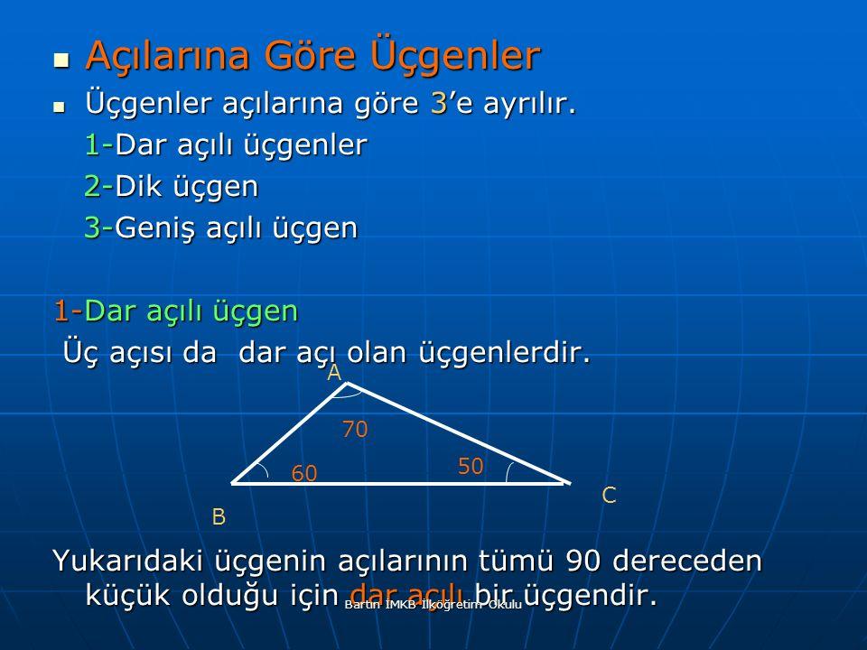 Açılarına Göre Üçgenler Açılarına Göre Üçgenler Üçgenler açılarına göre 3'e ayrılır.